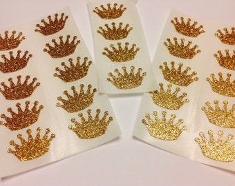 25 GOLD CROWNS glitter Sticker seals birthday shower party