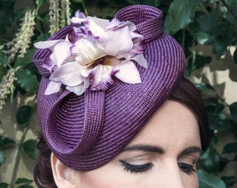 Purple Straw Hat with Vintage-Style Velvet Orchid Flowers