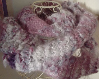 LUXURY ANGORA SCARF, extra long,handspun Italian yarn, fluffy, neckwarmer, women