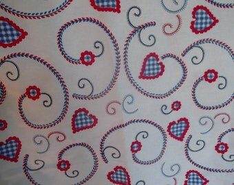 cotton tablecloth, HEARTS and FLOWERS,weddings,gift, valentines, home decor, 120 x 120 cm