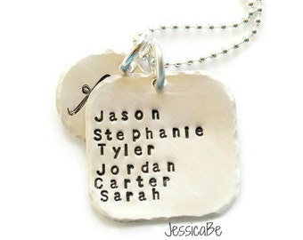 Family Monogram Hand Stamped Necklace ~