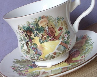 Vintage 1950's Royal Grafton boy and girl portrait tea cup and saucer, artist signed, Mid Century English tea cup, bone china tea cup,