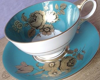 Vintage 1950's Aynsley turquoise tea cup and saucer, Gold roses tea cup, English bone china tea cup, Antique tea cup, mid century teacup