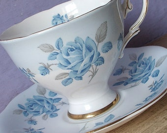 Antique blue rose tea cup and saucer, Royal Standard English teacup, Pale blue teacup, blue and white bone china teacup, Antique tea cup