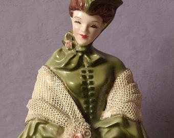 vintage 1950's Florence Ceramics figurine, Camille, southern belle figurine, antique figurine, Victorian woman, porcelain shabby chic decor