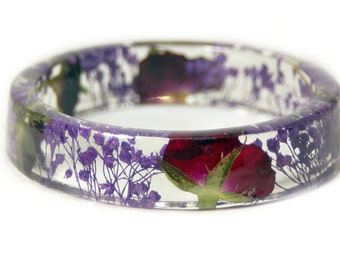 Red Rose Jewelry -Jewelry with Real Flowers- Real Flower Jewelry- purple Bracelet - Dried Flowers-  Resin Jewelry- Modern Flower Child