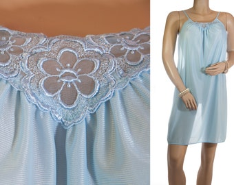 Adorable shiny soft powder blue nylon and delicate embroidered matching lace detail 1980's vintage knee length sleeveless nightgown - 3247