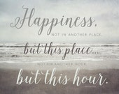 Typography Print, Walt Whitman Quote, Inspirational Quote, Happiness Quotation, Beach Decor, Word Art, Quote Print, Happy Wall Art Print.