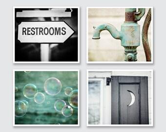Restroom Decor, Bathroom Decor, Bathroom Art, Rustic Bathroom, Teal Bathroom, Bathroom Gallery Wall, Print or Canvas Art Set.