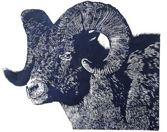Big Horn woodblock print