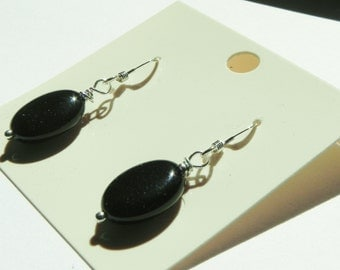 Black onyx oval gemstone drop sterling silver earrings|black earrings|black gemstone earrings|oval earrings|black and silver|classic black