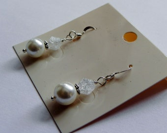 Shell pearl and crackled quartz gemstone earrings sterling silver bridal classic elegant choice of colour pastel earrings wedding jewellery