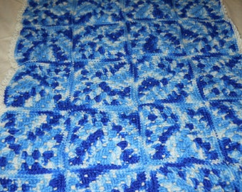 Baby Blanket, blue granny squares, crochet - FREE Shipping in US