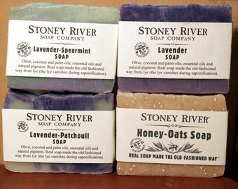 Handmade Natural Homemade Soap- packs of 3 or 6 -  labeled or unlabeled-   4-4.5 oz each with organic sustainable palm oil