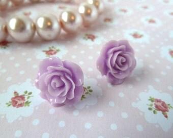 Lilac flower earring stud - cabochon, rose, light purple, earrings