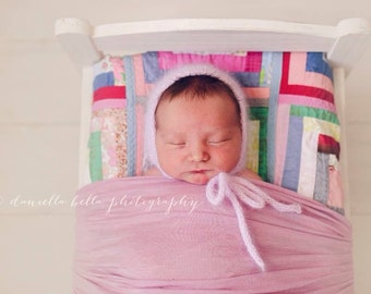 Angora Bonnet- Newborn Size- Photography Prop