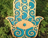 Wood and Teal Hamsa Wall Art