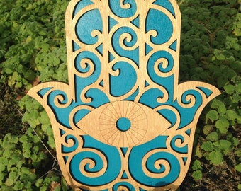 Wood and Teal Hamsa Wall Art