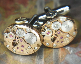 Steampunk Cufflinks Cuff Links - Torch SOLDERED - Antique ROSE Gold OMEGA Oval Watch Movements - Wedding, Anniversary Gift - Amazing Set