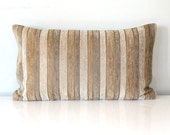 Lumbar Pillow Cover 12x21 Neutral Grey Beige Chenille Stripe Upholstery Fabric Throw Pillow Cover Decorative Pillow Oblong Cushion Cover