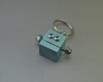Blue Silver Robot Key Chain, Zipper pull, Functional Art, Back to School