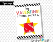INSTANT DOWNLOAD Printable Starburst Candy Star Valentines Day Cards
