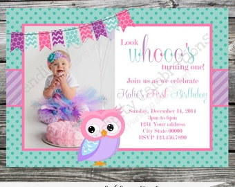 12 Printed Invitations By Serendipity Celebrations -Pink Purple Teal Owl -Birthday -Baby Shower -Printing Service