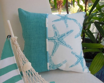 Decorative Pillow - Coastal Blue Starfish Design Pillow - Reversible 15 x 15 Inch - Coastal Blue and White Pillow - Starfish and Stripes
