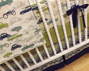 Crib Bedding- Boy Baby Bedding- Retro Cars Bedding- MADE TO ORDER- Baby Bedding- Retro Rides Boy Bedding