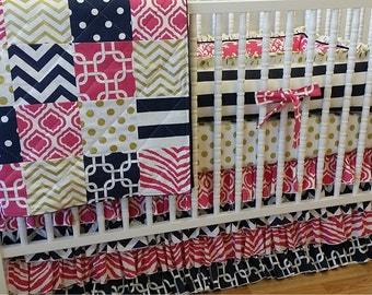 Girl Crib Bedding- Pink Gold and Navy Baby Bedding- MADE TO ORDER- Crib Bedding- Girl Bedding- Gold Bedding