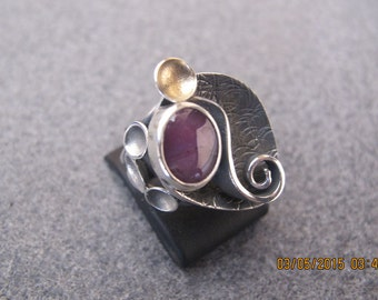 Amethyst Oxidized Sterling Silver and Gold Plated Sterling Silver Ring