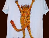Stretch Cat Handpainted T-Shirt for Cat People