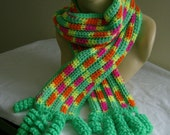 Girls Teen Neon Bright Colored Scarf With Spiral Coil Fringe