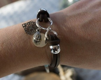 Infinity Brown Leather Bracelet with Mustard Seed & Buddha Charms