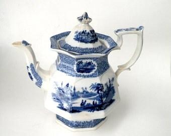 Pitcher Server- Interior Design Idea- Tea Blue White Delft- Temple Lid Vintage Retail