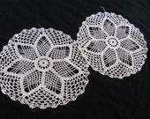 """Set of 2 Handmade Vintage Crocheted Doilies - 9"""" Round"""