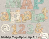 Old World Map Letters, Map Clip Art, Shabby Map Digital Alphabet Letters numbers travel decor, travel party, weddings, graduation scrapbooks