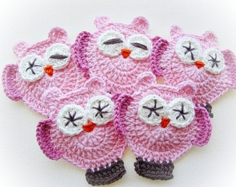 Light Pink Mimis Crochet Owls-Set of 5