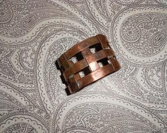 Solid Copper Woven Cuff Bracelet