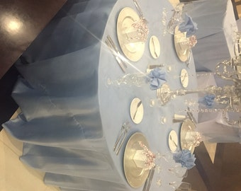 60 Inch Round Tablecloth Birthday Party Baby Blue Satin