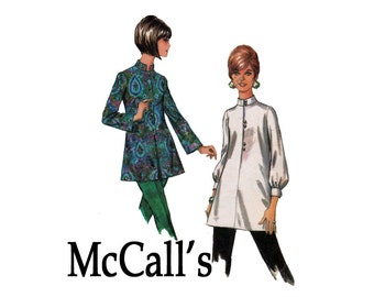 Nehru Blouse tunic Top 1960s Vintage Sewing Pattern Bust 34 Size 12 McCalls 9460 60s Misses Blouse Set Pattern