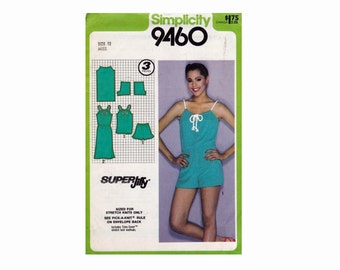 Super Jiffy UNCUT Sewing Pattern Size 12 Bust 34 Misses for Knits Pullover Dress or Top and shorts drawstring neckline Simplicity 9450