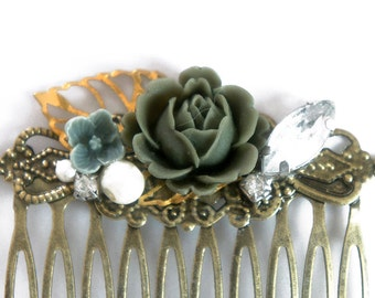 20% OFF Olive Green English Rose Shabby Chic Collage Comb - OOAK Victorian Style Shabby Chic Flower Collage Hair Comb - VCC015