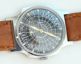 POBEDA- Soviet Russian ARKTIC North PoLE PiLOT Style Wrist Watch Made in USSR