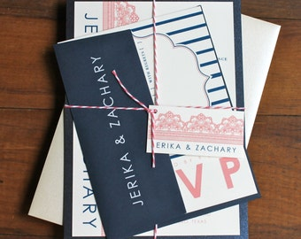 "Navy and Coral Wedding Invitations, Navy Wedding Invitation, Lace Invitations - ""Modern Lace Navy and Coral"" Deposit"