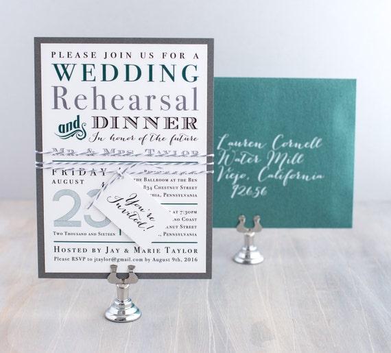 Wedding Rehearsal Dinner Invitations Typographic Rehearsal