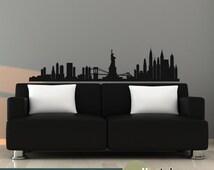 New York Skyline Wall Decal Vinyl Wall Art Decal Wall Decor - WD0329