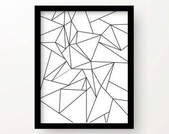 Abstract geometric art print, wall print, wall decor, home decor, hostess gift, birthday gift, wedding gift interior design, black and white