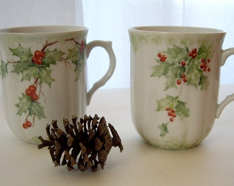 Vintage Epiag Porcelain Coffee Mugs signed by artist Janet Alison Made in the Czech of Republic 1993