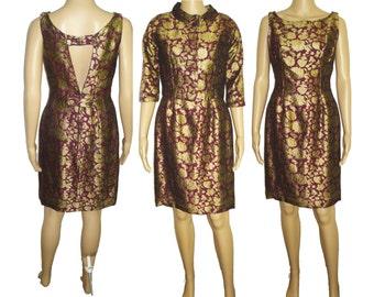 Vintage 1950s Dress  . Bolero Jacket  .  Purple  .  Gold Brocade . Hourglass Couture Femme Fatale . Cocktail Dress